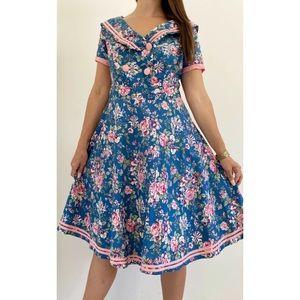 DOLLY & DOTTY Floral Retro Midi Dress Sz AU 14-16